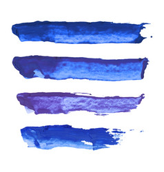 set of navy blue indigo violet watercolor vector image