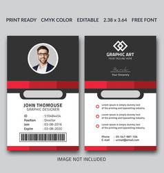 Simple and clean red id card design template vector