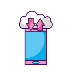 smartphone device with cloud computing vector image