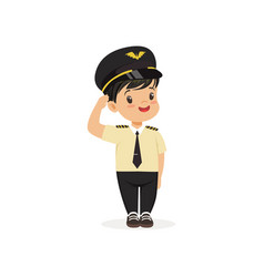 Smiling boy pilot standing isolated on white vector