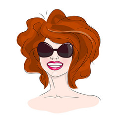 smiling woman sunglasses vector image