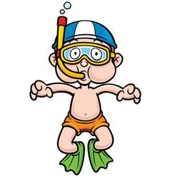 Snorkeling kid vector image
