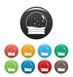 snow glass ball icons set color vector image