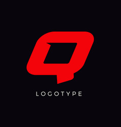 Speed letter q red race monogram logo italic vector