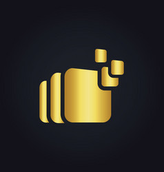 square data gold logo vector image