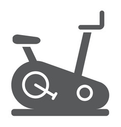 Stationary bike glyph icon sport and equipment vector
