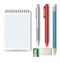 stationery mockup set 3d objects isolated on vector image