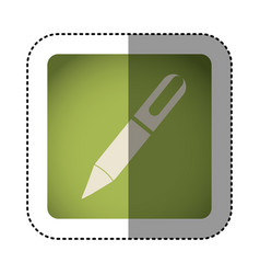 sticker color square with pen icon vector image