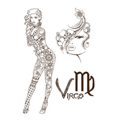 Stylized zodiac sign of fish virgo vector