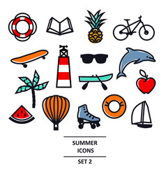 Summer icons black line travel vacation and vector