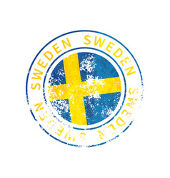 sweden sign vintage grunge imprint with flag on vector image