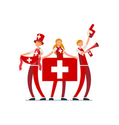 swiss flag switzerland people vector image