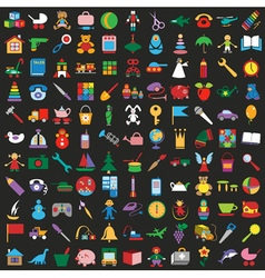 Toys colorful icons on black background vector