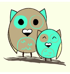 Two fat cute owls vector