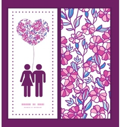 Vibrant field flowers couple in love silhouettes vector