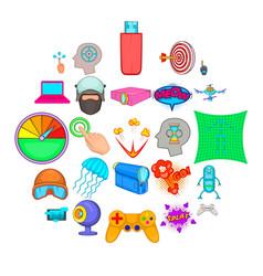 virtual icons set cartoon style vector image
