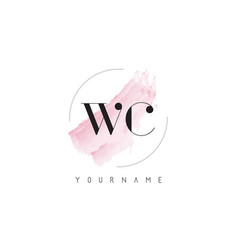 Wc w c watercolor letter logo design with vector