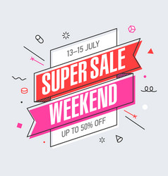Weekend super sale banner template in flat trendy vector