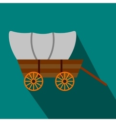Western covered wagon flat icon vector image
