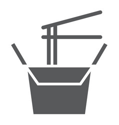 Wok box glyph icon chinese and food noodle sign vector