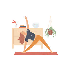 woman performs yoga exercises bending to the vector image