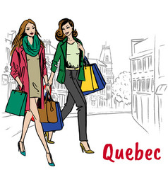 women with shopping bags walking on st jean street vector image