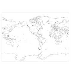 World map country border outline on white vector