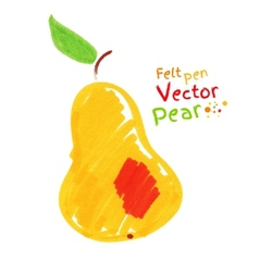 Yellow pear with leaf vector image vector image