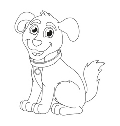 Cartoon puppy coloring book page for children vector