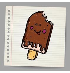 Doodle ice cream dessert style sketch vector image