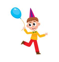 flat boy running with air balloon vector image