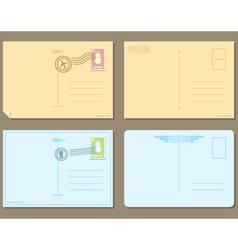 Flat design of 4 postcards vector image