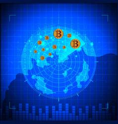blue radar bitcoin digital currency futuristic vector image vector image