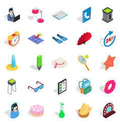 jollification icons set isometric style vector image