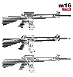 M16 rifle halftone set vector image vector image
