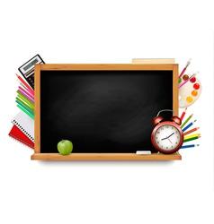 Back to school Blackboard with school supplies vector image vector image