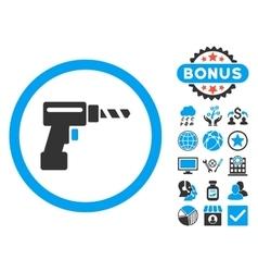 Drill flat icon with bonus vector