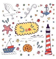 Sea doodles vector image