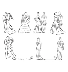 silhouette of bride and groom set newlyweds sketch vector image