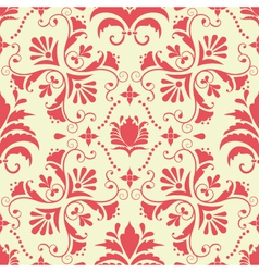 vintage damask seamless coral pattern vector image vector image