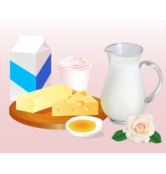 background with milk butter cheese eggs vector image