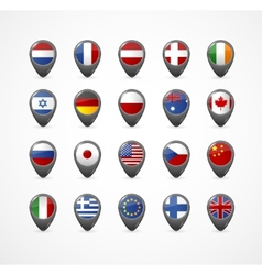 Gps Pin with flag for map vector image vector image