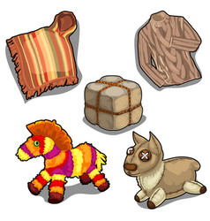 Poncho shirt fur and soft toy llama vector