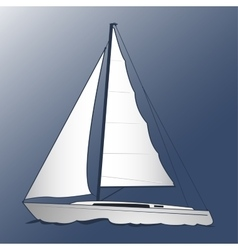 A white yacht Blue background vector image
