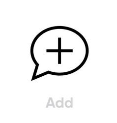 add message social icon editable line vector image