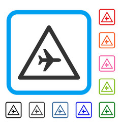 airplane danger framed icon vector image