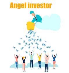 Angel investor flat in minimalist style cartoon vector