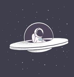 astronaut flies in flying saucer vector image