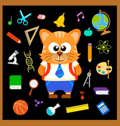 Back to school seamless background with cat vector