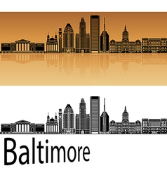 Baltimore skyline in orange vector image